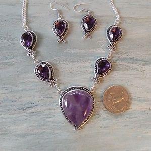 Jewelry - Beautiful purple natural amethyst stamped 925 set
